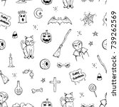 seamless pattern of halloween... | Shutterstock .eps vector #739262569