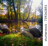 autumn in the park  | Shutterstock . vector #739262851