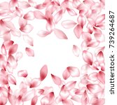 border of blossom flying petals ... | Shutterstock .eps vector #739264687