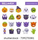 halloween emoji set. flat... | Shutterstock . vector #739270381