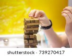 the white man is playing by... | Shutterstock . vector #739270417