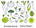 farm fresh vegetables icons.... | Shutterstock . vector #739270447