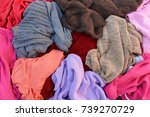 pile of carelessly warm... | Shutterstock . vector #739270729
