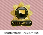 gold emblem with flag icon and ... | Shutterstock .eps vector #739274755