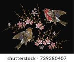 embroidery birds and blossoming ... | Shutterstock .eps vector #739280407