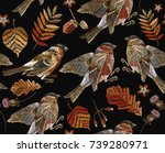 embroidery autumn and birds... | Shutterstock .eps vector #739280971