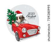 christmas card. pug dog in a... | Shutterstock .eps vector #739280995