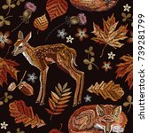 embroidery deer and fox  autumn ... | Shutterstock .eps vector #739281799