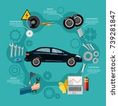 car service mechanic tool box... | Shutterstock .eps vector #739281847