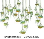 modern suspended  pots with... | Shutterstock .eps vector #739285207