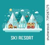 winter vacation flat landscape. ... | Shutterstock . vector #739287175