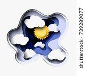 3d abstract layered paper cut... | Shutterstock .eps vector #739289077