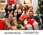 family  christmas  holidays ... | Shutterstock . vector #739289725