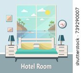 Stock vector hotel room with a sea view vector flat illustration 739290007
