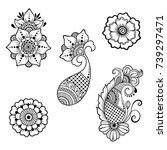 set of mehndi flower pattern... | Shutterstock .eps vector #739297471
