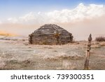 traditional altai building... | Shutterstock . vector #739300351