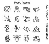 super hero icon set in thin... | Shutterstock .eps vector #739302799