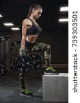 sporty girl squats with barbell ...   Shutterstock . vector #739303501