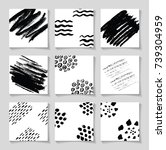 black ink brushes grunge square ... | Shutterstock .eps vector #739304959
