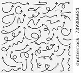 hand drawn arrows doodle vector ... | Shutterstock .eps vector #739306621