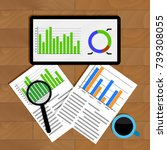 analytics and statistics. graph ... | Shutterstock . vector #739308055