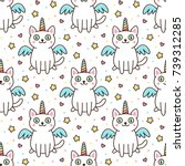 cute seamless pattern with... | Shutterstock .eps vector #739312285