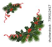 christmas decorations with fir... | Shutterstock .eps vector #739312417