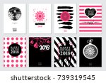 2018 set of happy new year card ... | Shutterstock . vector #739319545