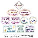 passport stamp of the windward... | Shutterstock .eps vector #73932247
