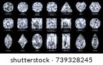 twenty one various diamond ... | Shutterstock . vector #739328245