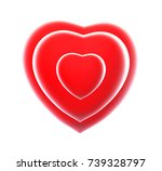 three 3d red hearts. isolated... | Shutterstock . vector #739328797