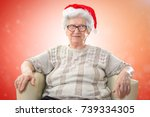 happy senior woman with red... | Shutterstock . vector #739334305