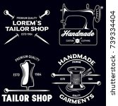set of vintage tailor labels ... | Shutterstock .eps vector #739334404