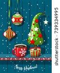 holidays vintage motive ...   Shutterstock .eps vector #739334995