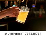 close up bartender hand pouring ... | Shutterstock . vector #739335784