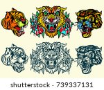 tigers old school tattoo vector.... | Shutterstock .eps vector #739337131