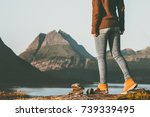 adventurer woman feet hiking in ... | Shutterstock . vector #739339495