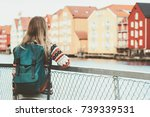tourist woman with backpack... | Shutterstock . vector #739339531