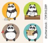 cute panda bear character doing ... | Shutterstock .eps vector #739341289