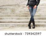 women's legs in jeans and boots | Shutterstock . vector #739342597
