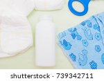 diapers  toy  clothes  powder... | Shutterstock . vector #739342711