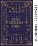 merry christmas frame template... | Shutterstock .eps vector #739344259