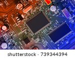 electronic circuit board close... | Shutterstock . vector #739344394