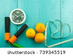 the healthy conceptual flat lay ... | Shutterstock . vector #739345519