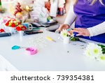 florist woman making a... | Shutterstock . vector #739354381