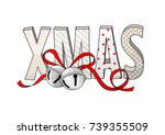abstract text xmas with jingle... | Shutterstock .eps vector #739355509
