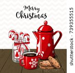 red vintage coffee pot with cup....   Shutterstock .eps vector #739355515