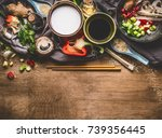 vegetarian stir fry ingredients ... | Shutterstock . vector #739356445