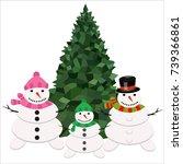 snowman christmas cold winter...   Shutterstock .eps vector #739366861