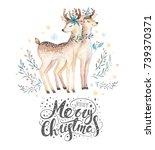 christmas watercolor deer. cute ... | Shutterstock . vector #739370371